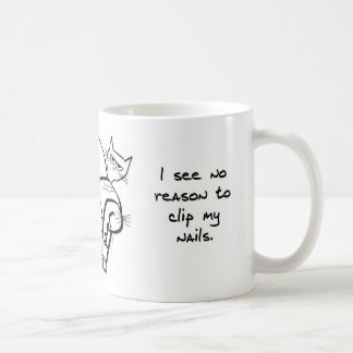 Trying to Clip Angry Cat's Nails Coffee Mug