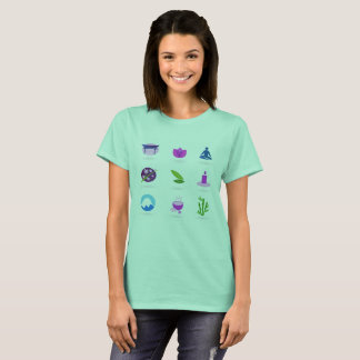 Tshirt mint with Wellness icons