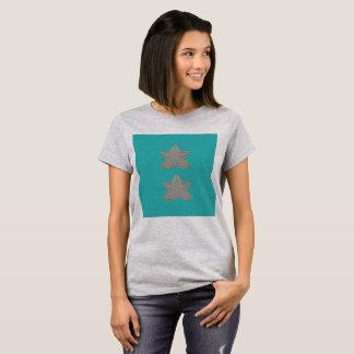 Tshirt with lotuses cyan