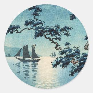 Tsuchiya Koitsu Maiko Sea Shore shin hanga Classic Round Sticker