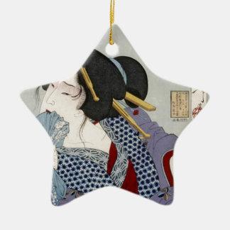 Tsukioka Yoshitoshi 月岡 芳年 - Looking in Pain Ceramic Star Ornament