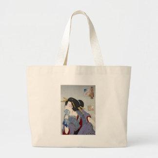 Tsukioka Yoshitoshi 月岡 芳年 - Looking in Pain Large Tote Bag