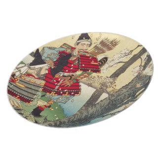 Tsukioka Yoshitoshi - Yoshitsune and Benkei Dinner Plate