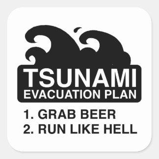 Tsunami Evacuation Plan Square Sticker