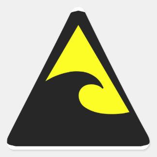 Tsunami Hazard Sign Triangle Sticker