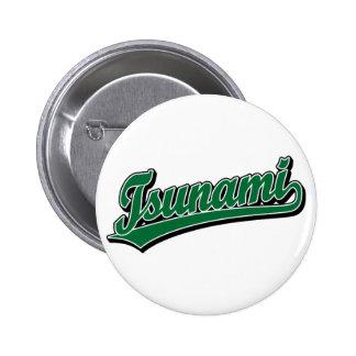 Tsunami script logo in Green 2 Inch Round Button
