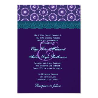 TT024 Teal Blue and Purple Lace Wedding Monogram Card