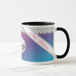 TT-Diamond Bliss Personalized Brunette Mug | Pink