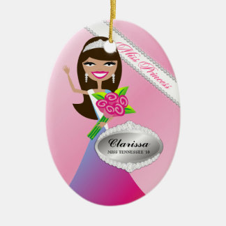 TT-Miss Princess Brunette Custom Photo Ornament