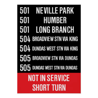 TTC Replica CLRV Rollsign (501, 504, 505) Poster
