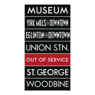 TTC Subway Destination Sign v1 Poster