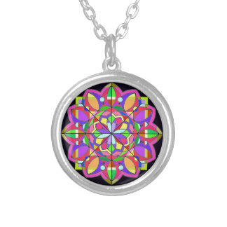 tThe Stained Glass Design. Silver Plated Necklace