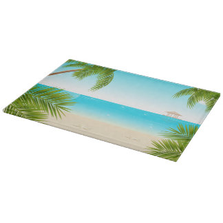 Ttropical Beach Background Glass Cutting Board
