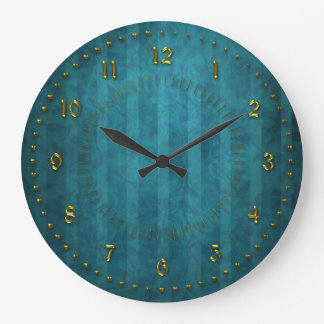 TTurquoise Teal Stripped  Numbered Clock