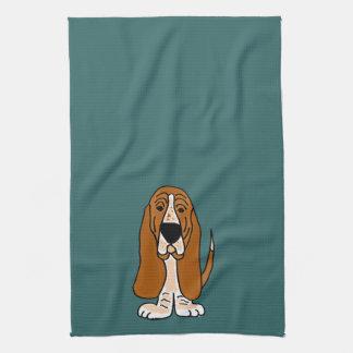 TU- Funny Basset Hound Original Art Kitchen Towel