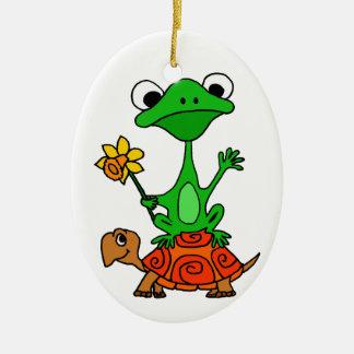 TU- Funny Frog Riding Turtle Cartoon Ceramic Ornament