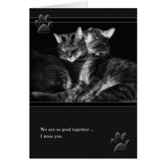 Tu me manque chats tigrés gris carte de vœux