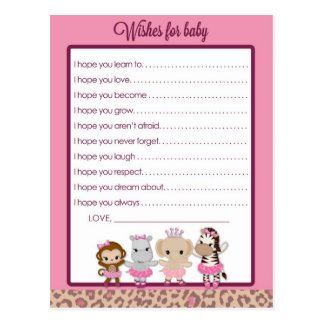 Tu Tu Cute Ballerina Baby Shower Wishes for Baby Postcard