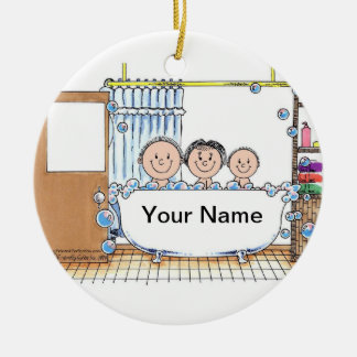Tub Time with 1 Child Ceramic Ornament