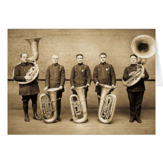 Tuba Cops Vintage Police Brass Band (Sepia) Card