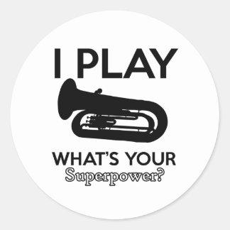 tuba designs classic round sticker