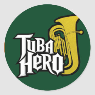 tuba_hero classic round sticker