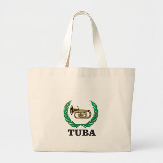 tuba in a frame large tote bag