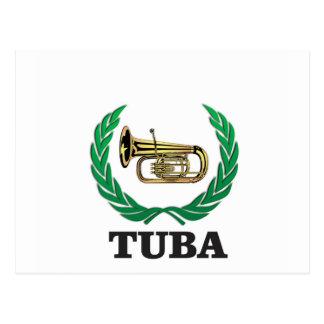 tuba in a frame postcard