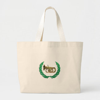 tuba in green large tote bag