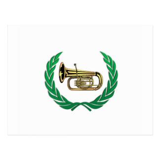 tuba in green postcard