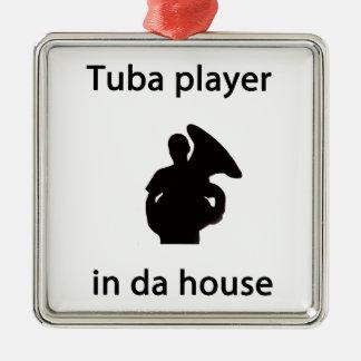 tuba player in da house metal ornament