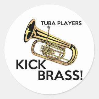 Tuba Players Kick Brass Classic Round Sticker