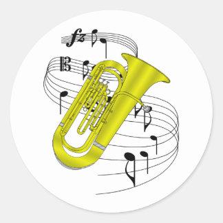 Tuba Round Sticker