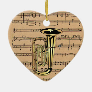 Tuba ~ With Sheet Music Background Ceramic Ornament