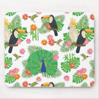 Tucan And Peacock Pattern Mouse Pad