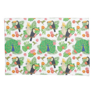 Tucan And Peacock Pattern Pillowcase