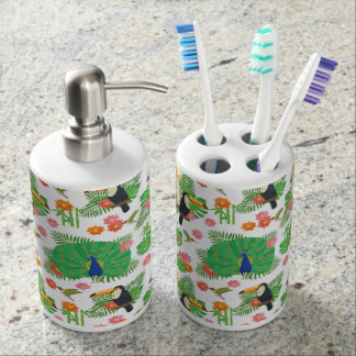 Tucan And Peacock Pattern Soap Dispensers