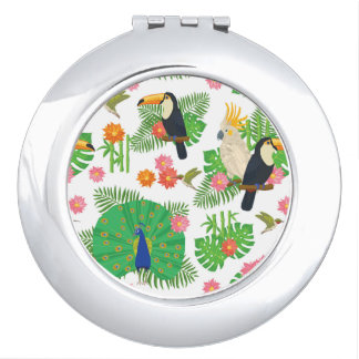Tucan And Peacock Pattern Vanity Mirrors