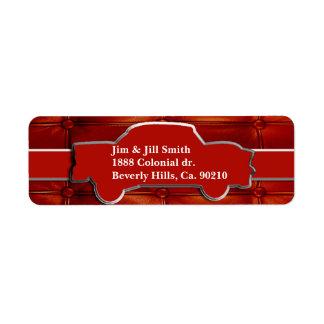 Tuck N Roll Muscle Car Monogram Return Address Label