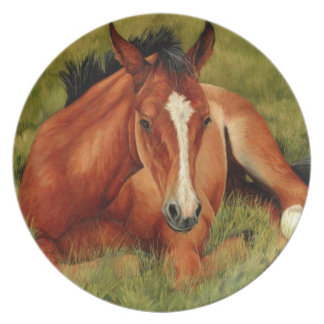 Tuckered Out - Resting Foal Plate