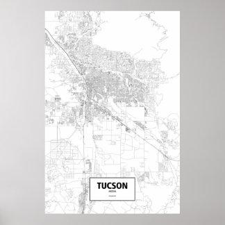 Tucson, Arizona (black on white) Poster