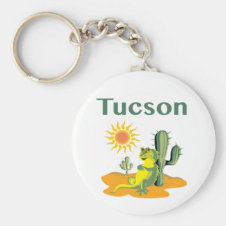 Tucson Arizona Lizard under Saguaro Keychain