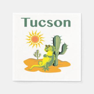 Tucson Arizona Lizard under Saguaro Paper Napkin
