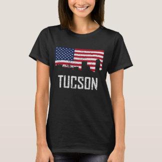 Tucson Arizona Skyline American Flag Distressed T-Shirt