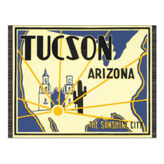 Tucson Arizona The Sunshine City, Vintage Postcard