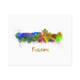 Tucson skyline in watercolor canvas print
