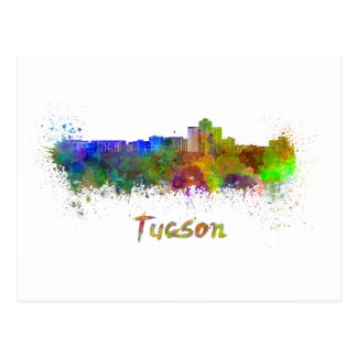 Tucson skyline in watercolor postcard