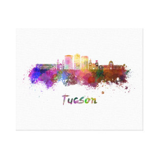 Tucson V2 skyline in watercolor Canvas Print