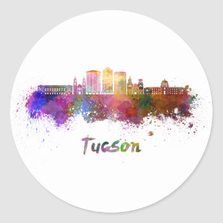 Tucson V2 skyline in watercolor Classic Round Sticker