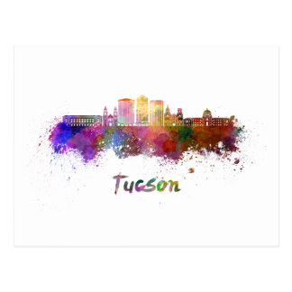Tucson V2 skyline in watercolor Postcard